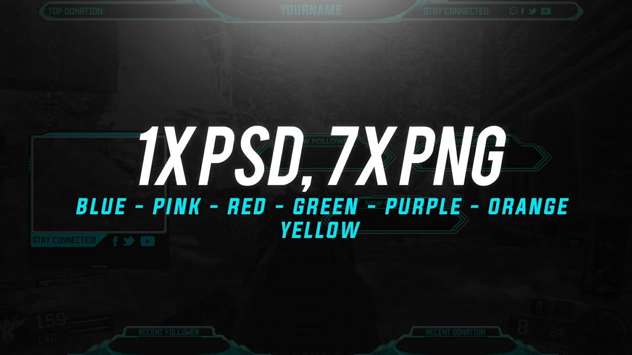 PACK TITANIUM : TWITCH STREAM OVERLAY PROFESSIONAL | TEMPLATE EDITABLE PHOTOSHOP CC | CSGO