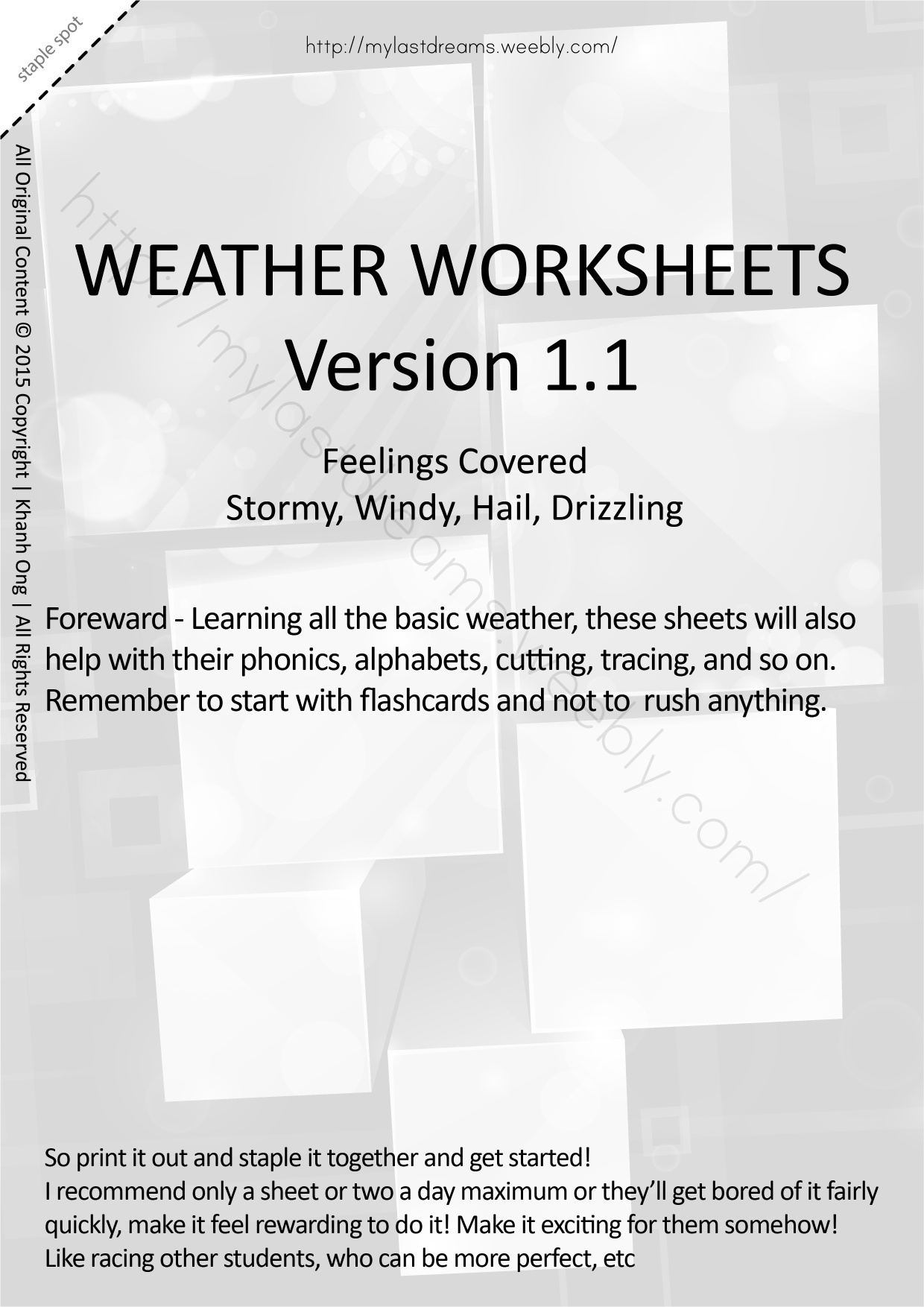 MLD - Basic Weather Worksheets - Part 2 - A4 Sized