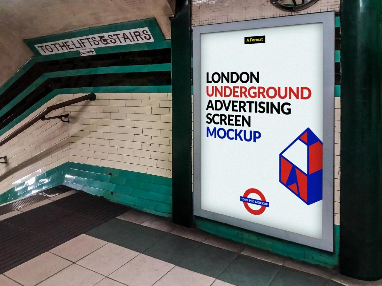 Free London Underground Advertising Screen Mock-Ups 2