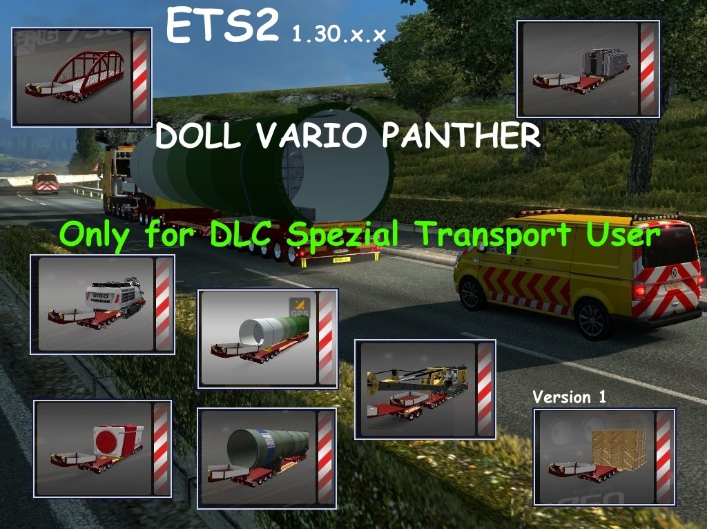 DOLL VARIO Panther 7-10Axles Pack with 10 Cargos Version 3.2 + Spezial Transport Pack  ETS2 1.30.x.x