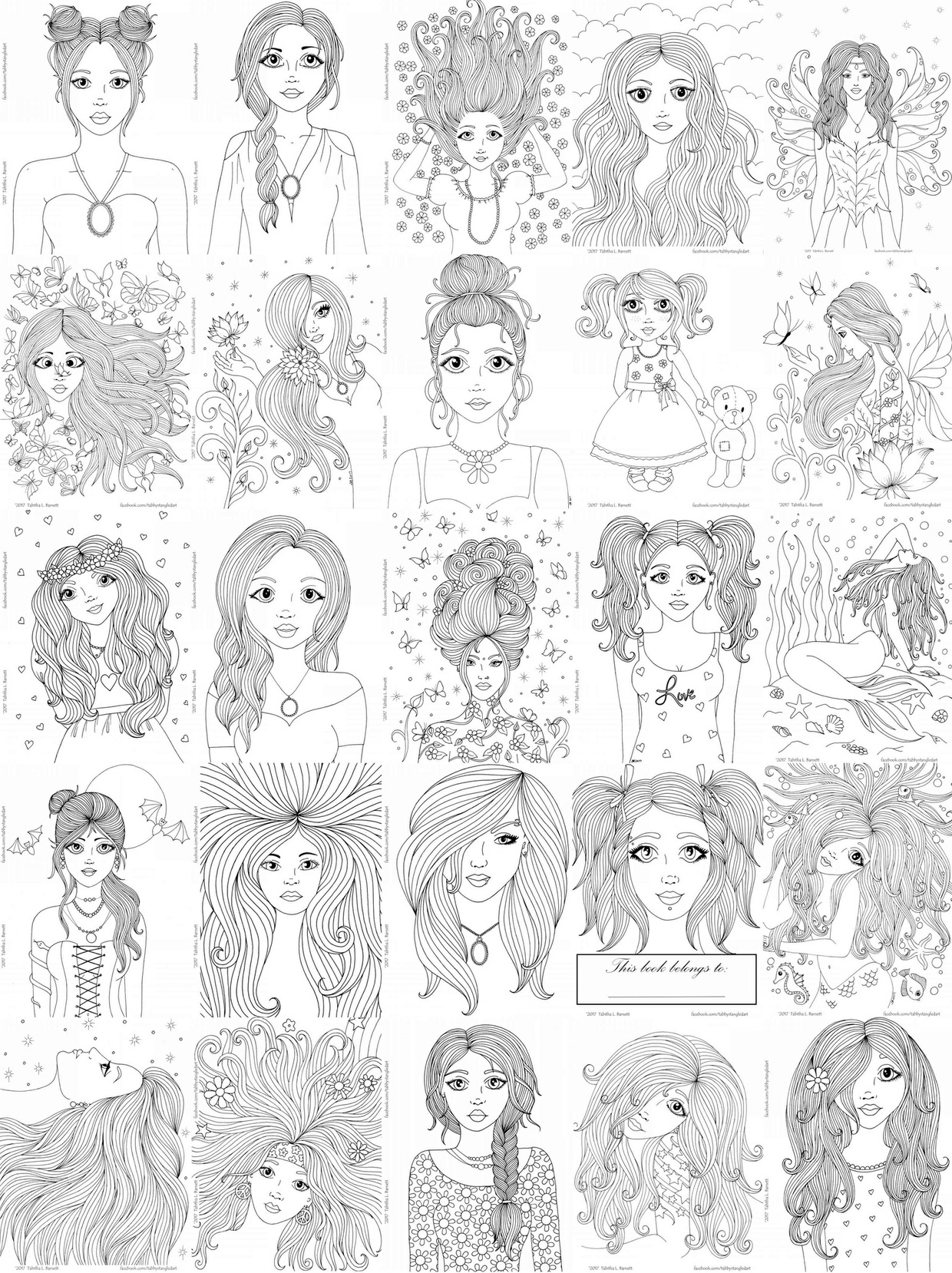 Girls Adult Coloring Book PDF
