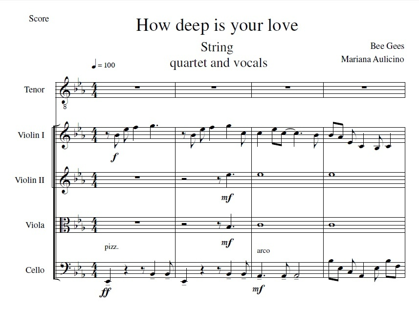 How deep is your love - Bee Gees - String quartet + vocals