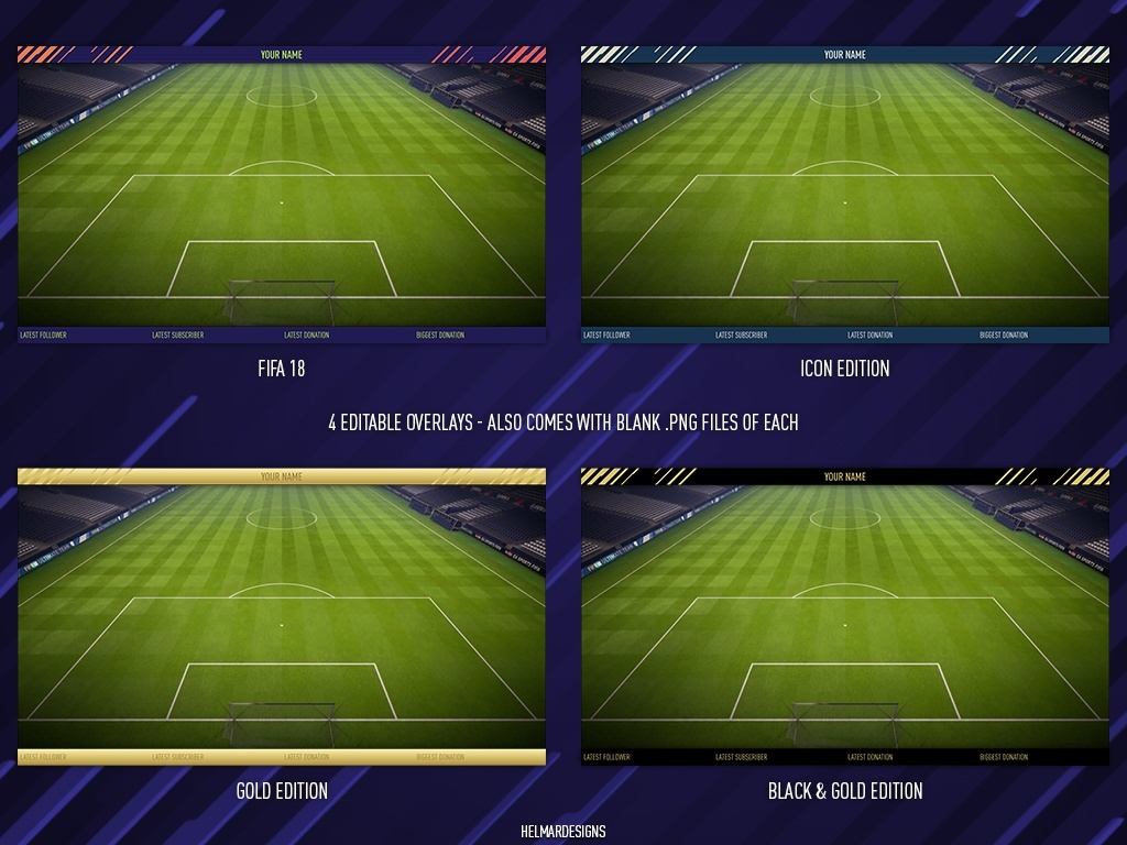 FIFA 18 Twitch Bar Overlay Customisable Template Pack