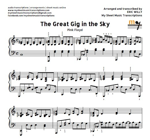 Beautiful Advanced Piano Sheet Music: The Great Gig In The Sky (Pink Floyd) Sheet Music (.pd
