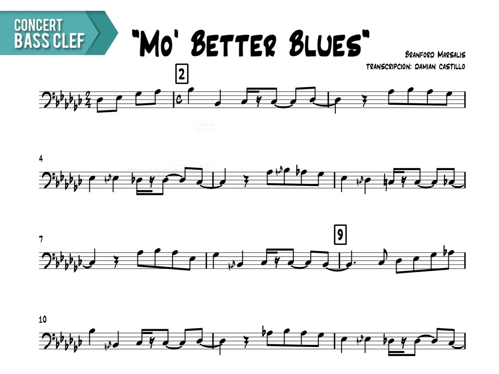 "Branford Marsalis - ""Mo' Better Blues"" - Concert Bass Clef"