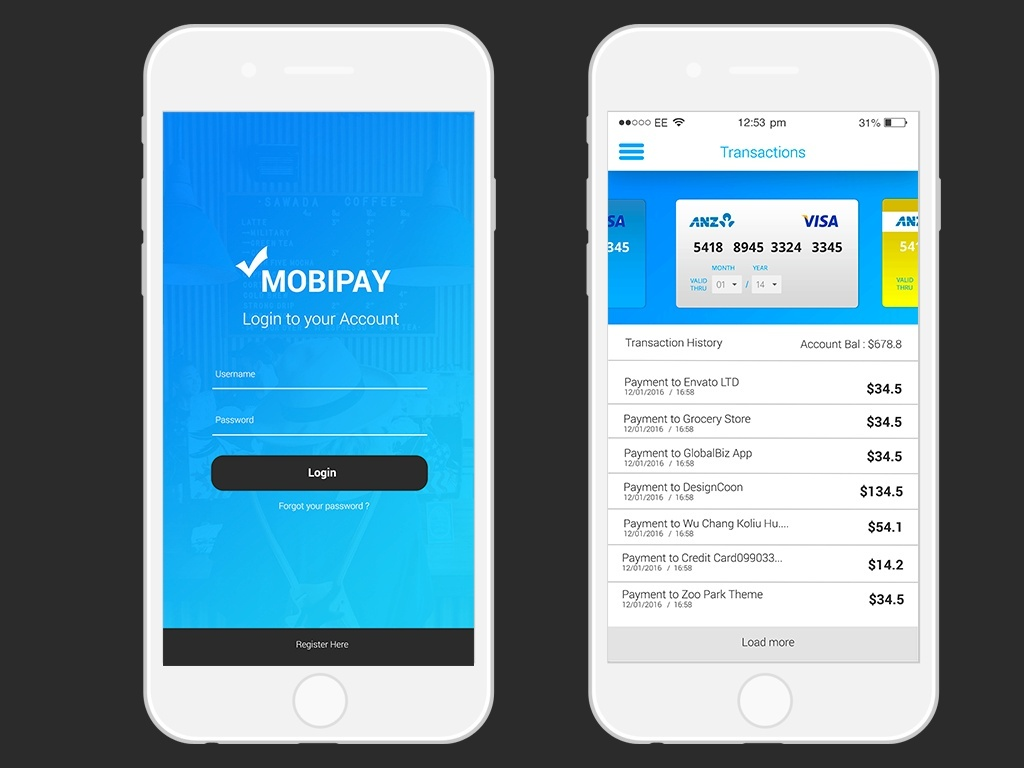PSD Mobile App Payment App UI Template