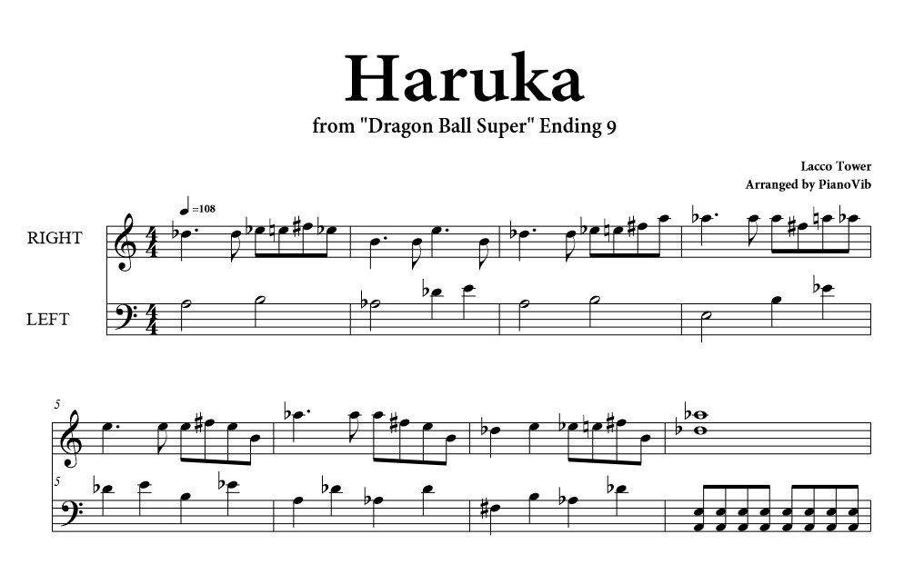 Dragon Ball Super - Haruka (Ending 9) [PIANO MIDI]