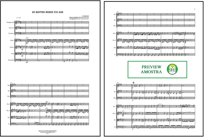 No Matter Where You Are   Us The Duo   Quarteto de Cordas e Trio de Metais   Partitura Completa