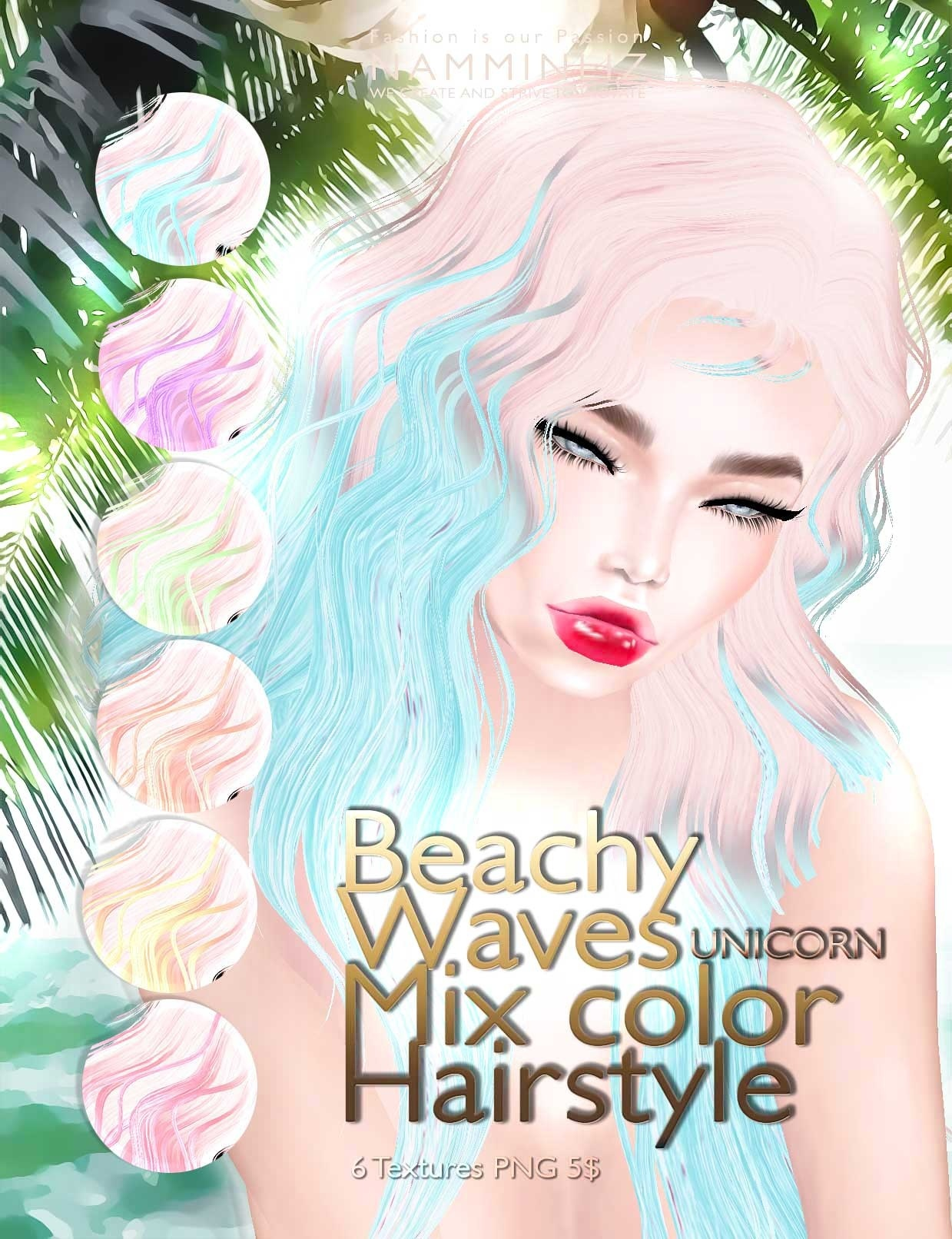 Beachy waves mixc color hairstyle •Full 18 imvu hair texture PNG
