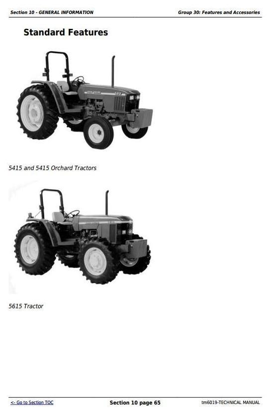 John Deere 5415, 5415N, 5415H, 5615, 5615HC, 5715, 5715HC Tractors Technical Repair Manual (tm6019)