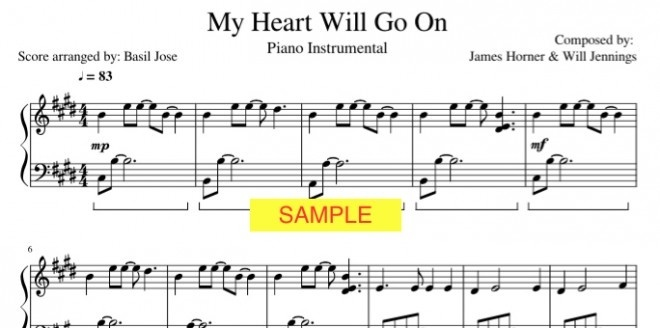 my heart will go on piano sheet pdf