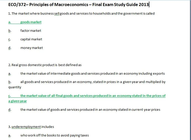 eco 372 principles of macroeconomics final exam View test prep - eco372-finalexam-studyguide from eco 372 at university  of phoenix eco/372 final exam study guide 1 what is the name of the market.