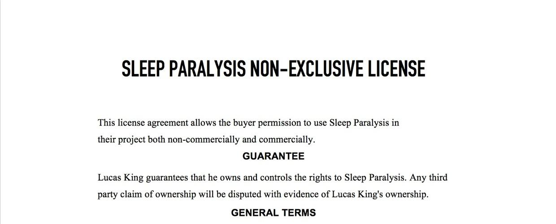 Horror Music - Sleep Paralysis License