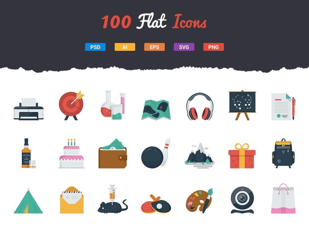 100 Fresh Flat Icons