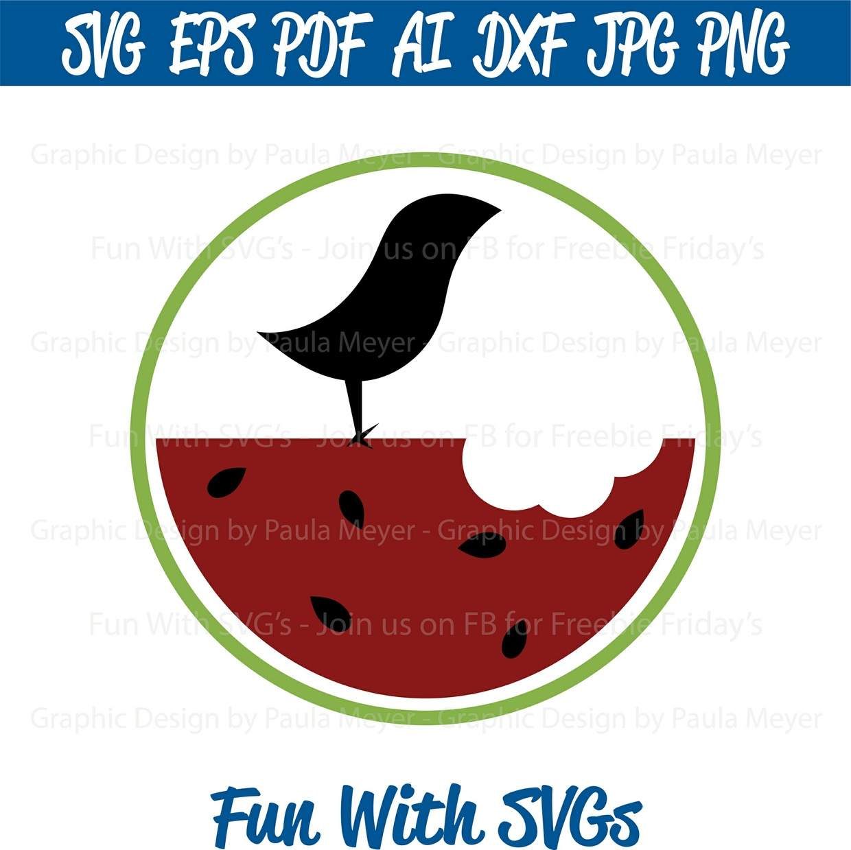 Watermelon Bird -  SVG Cut File, High Resolution Printable Graphics and Editable Vector Art