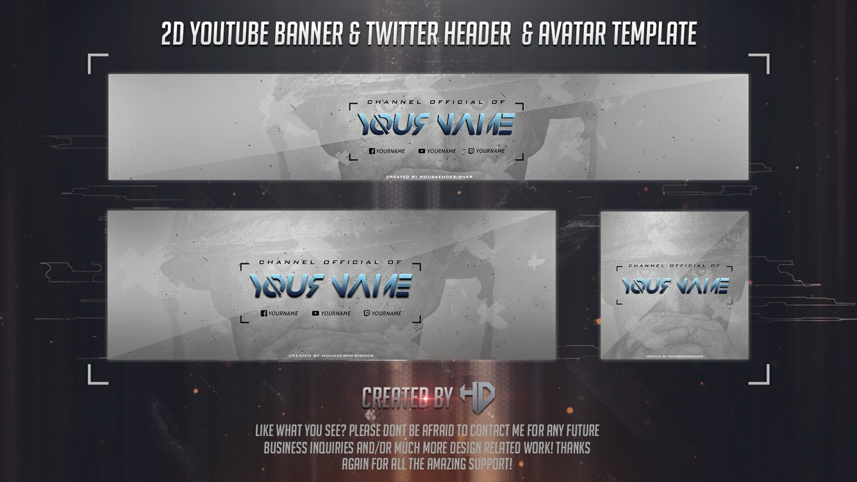 2D Youtube Banner and Twitter Header Template