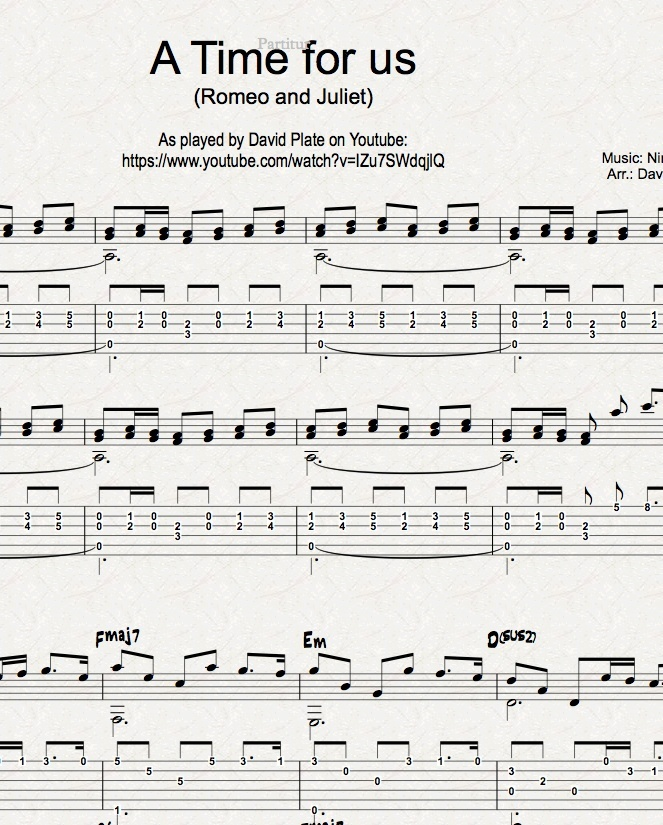 A TIME FOR US (ROMEO AND JULIET) - Guitar Arrangement (TABs + Notation)