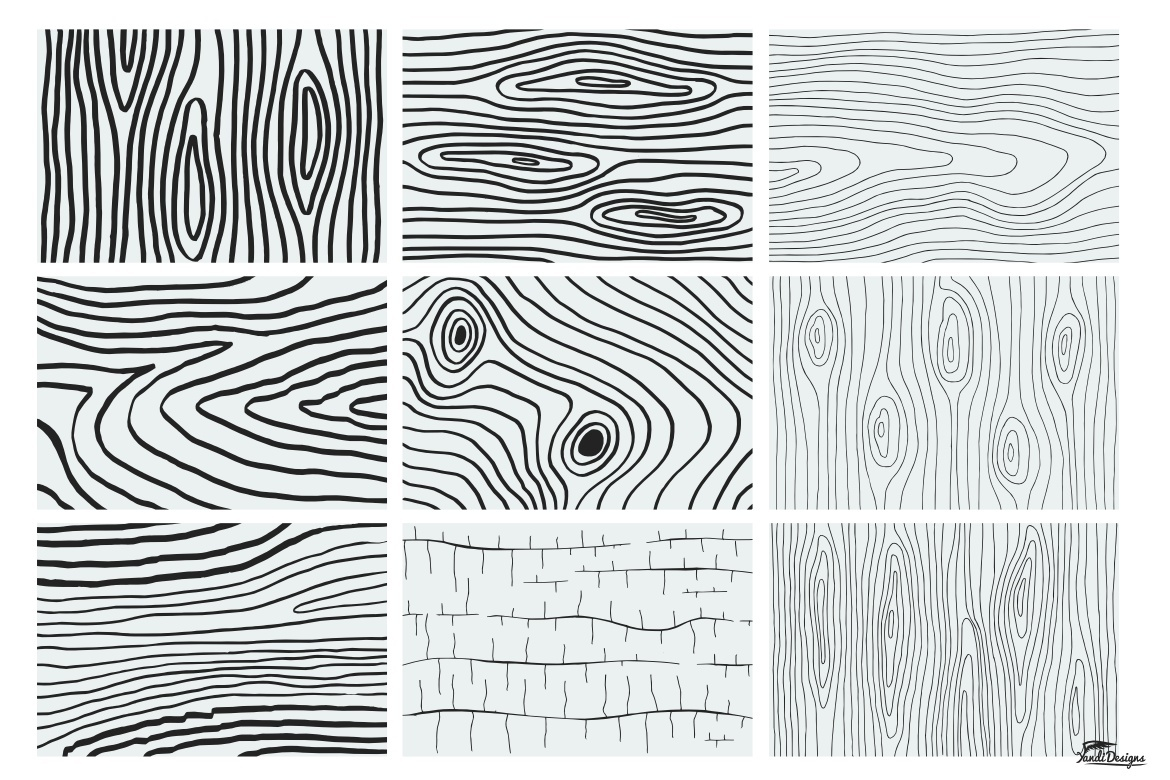 20 Hand Illustrated Wood Texture Vector