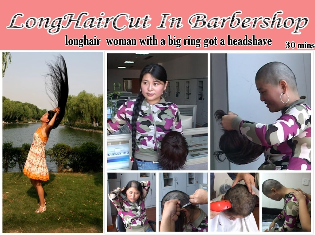 longhair  woman with a big ring got a headshave