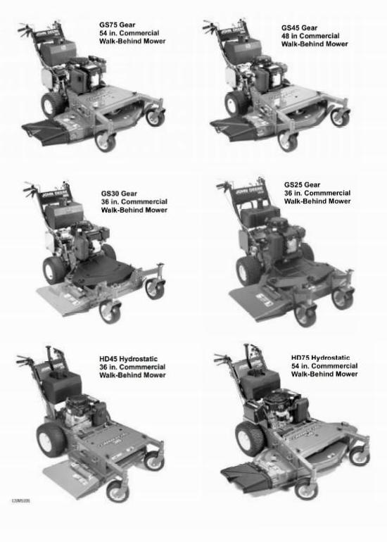 John Deere Walk-Behind Mowers: GS25, GS30, GS45, GS75, HD45, HD75 Technical Manual