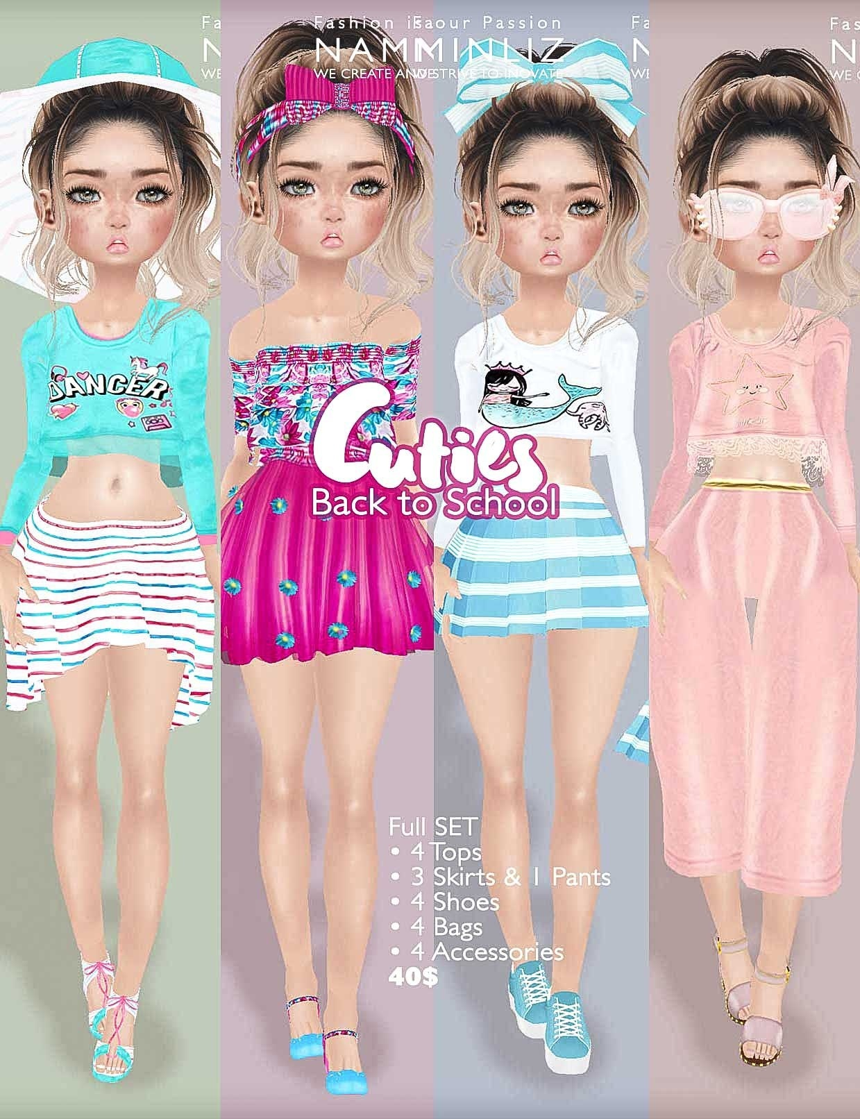 Cuties Back to School Full SET  ( 4 Top + 3 Skirts + 1 Pants + 4 Shoes + 4 Accesories + 4 Bag)