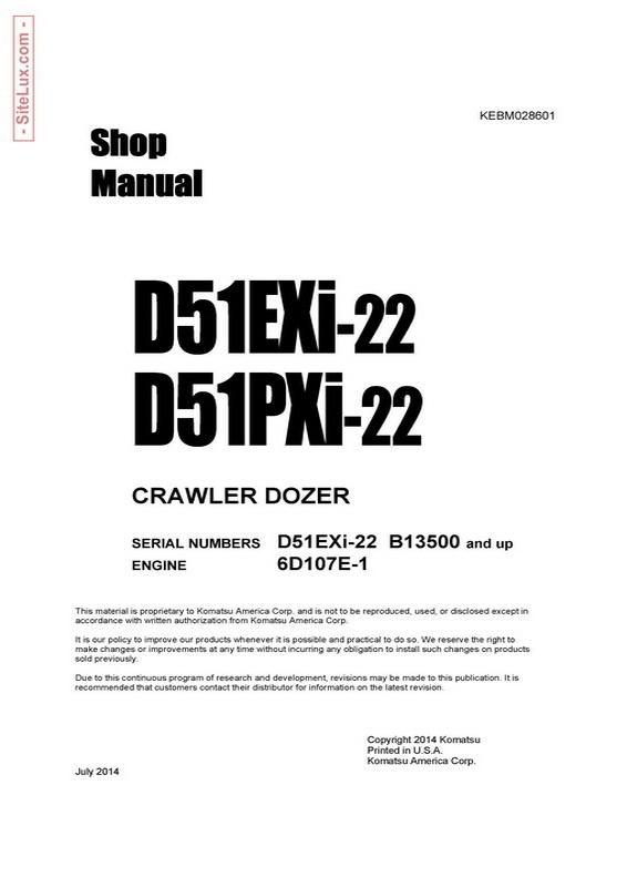 Komatsu D51EXi-22 & D51PXi-22 Crawler Dozer Shop Manual (B13500 and up) - KEBM028601