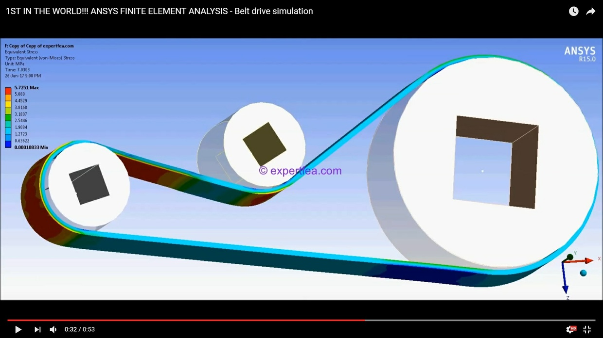 MECHDAT file and 3D model for ANSYS FINITE ELEMENT ANALYSIS - Belt drive simulation