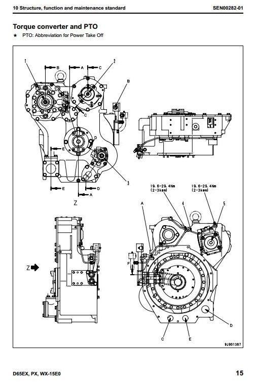 Komatsu Crawler Dozers  D65EX-15, D65PX-15, D65WX-15 sn: 69001 and up Workshop Service Manual