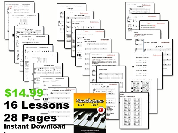UNIT 1 Piano Video Lessons YEAR 1 -   (16 lessons)  PDF, 28pp