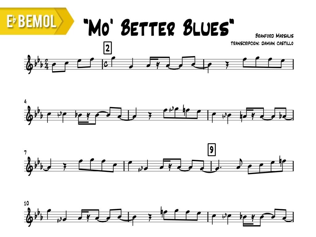 "Branford Marsalis - ""Mo' Better Blues"" - Eb"