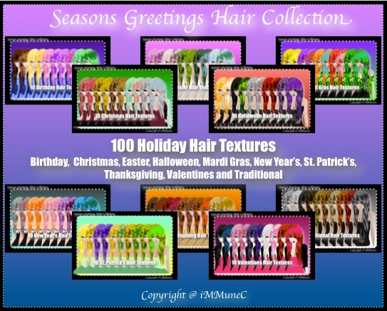 100 Holiday Hair Textures With Resell Rights (SG)