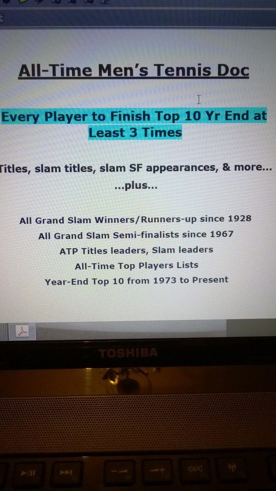 Speedburner All-Time ATP Tennis Stats