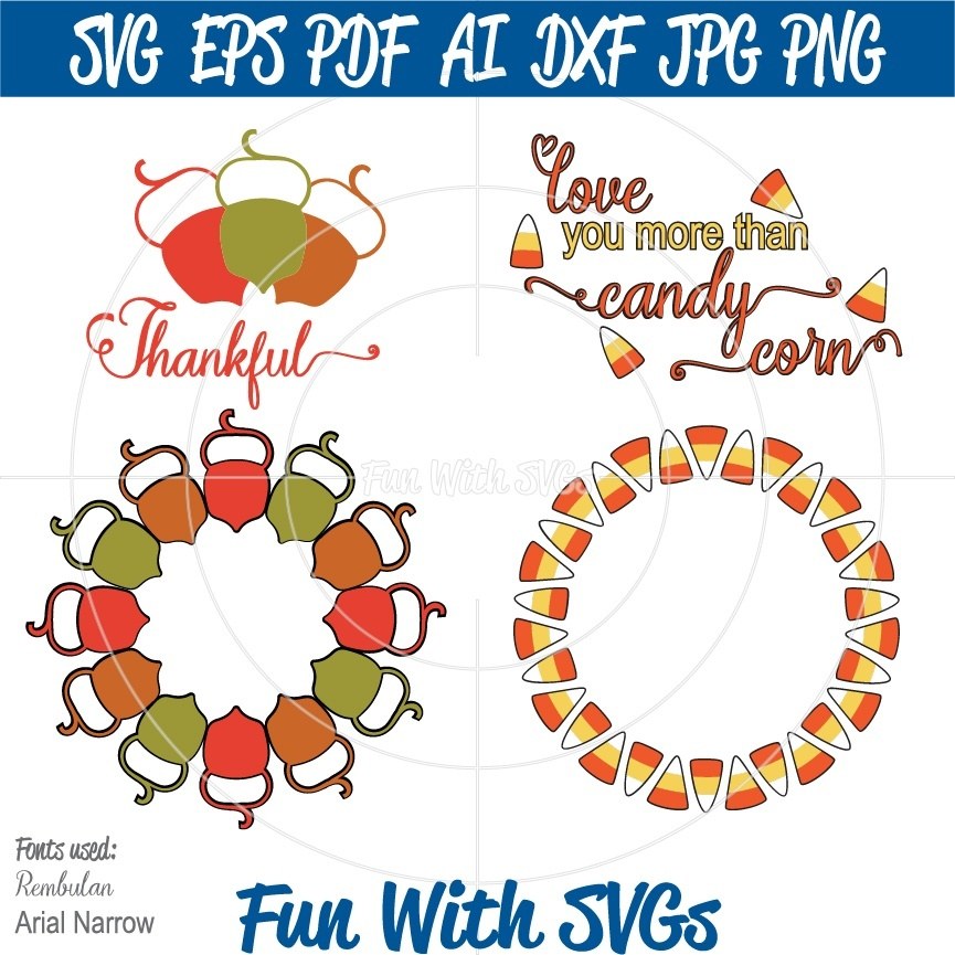 Harvest Monogram SVG, Acorn Monogram SVG, Candy Corn Monogram SVG, Fall Wreath, Fall SVGs