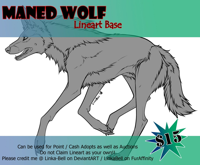 Maned Wolf Lineart