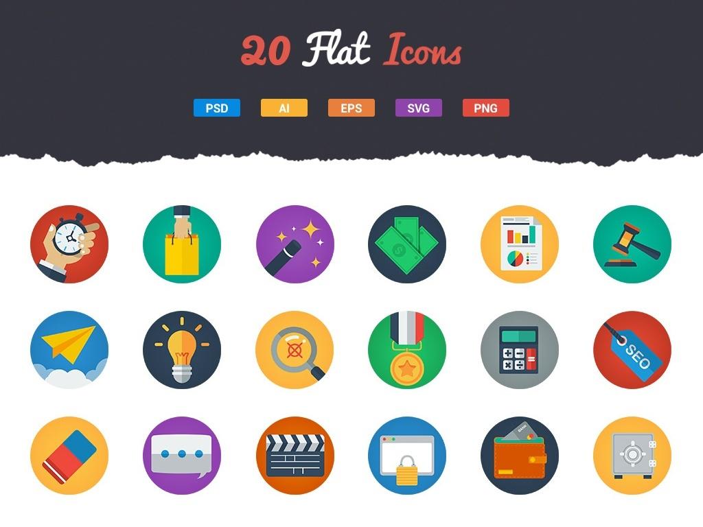 20 Free & Modern Flat Icons
