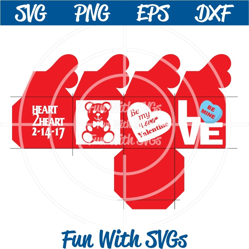 Valentine Heart Box, Treat box, PNG, EPS, DXF and SVG Cut File, High Resolution Printable Graphics
