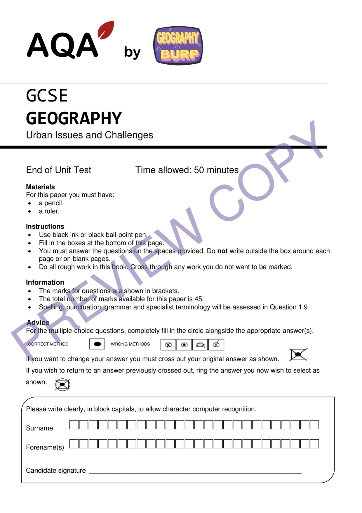 end of unit geography assessment