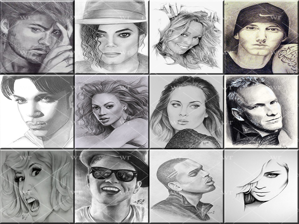 FAMOUS SINGERS PENCIL DRAWING