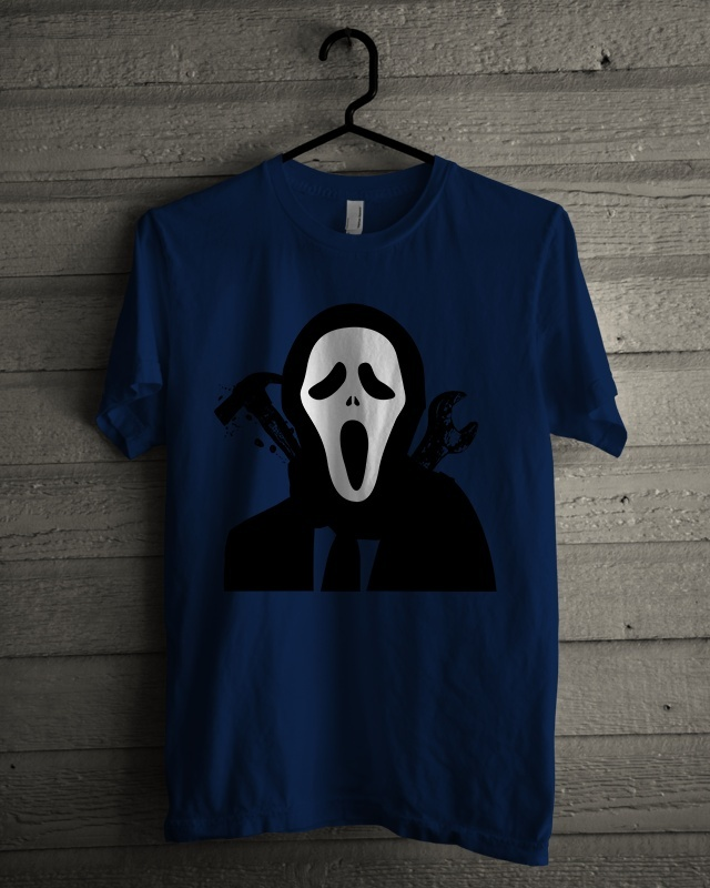 T-shirt Design 'Halloween White Mask Murderer'