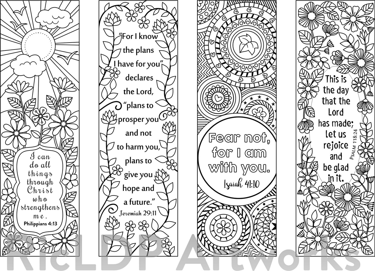 This is a graphic of Bewitching Free Printable Bible Verse Bookmarks to Color