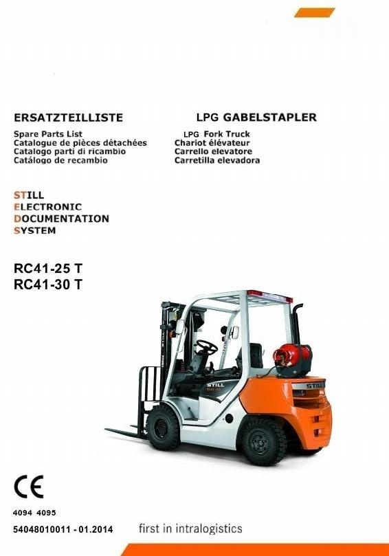 Still LPG Forklift Truck Type RC41-25T, RC41-30T: 4094, 4095 Spare Parts Manual, Catalog