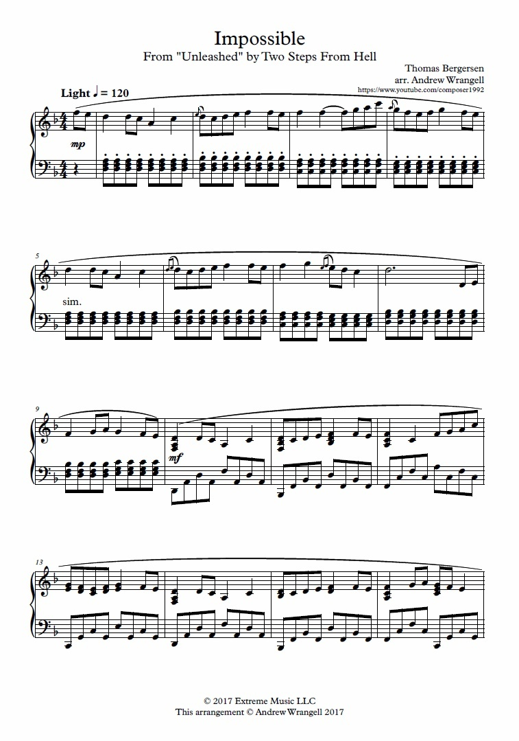 Impossible Piano Sheet Music (Two Steps From Hell)