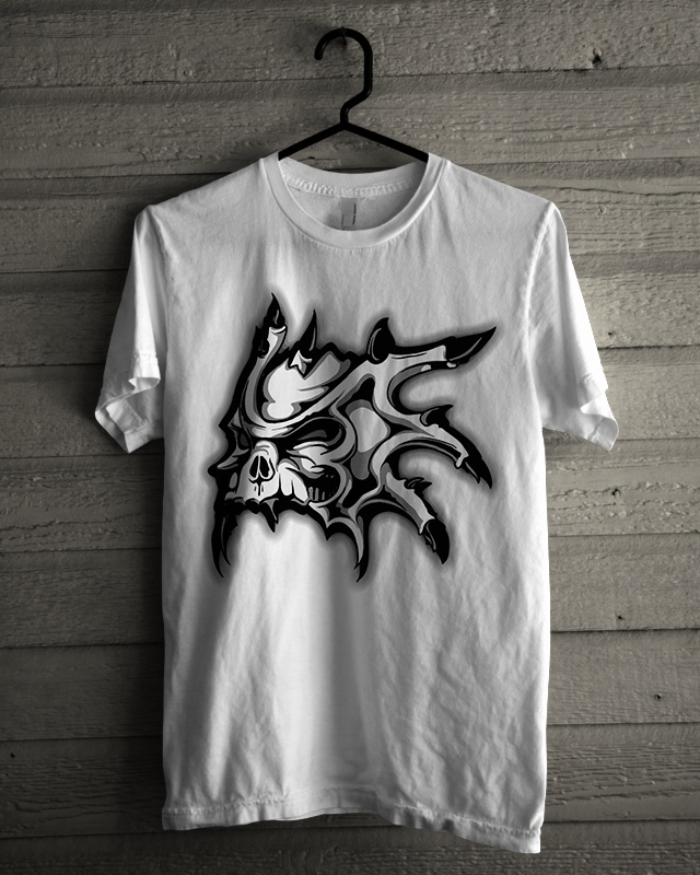 Tshirt Design - Horned Skull In Black And White