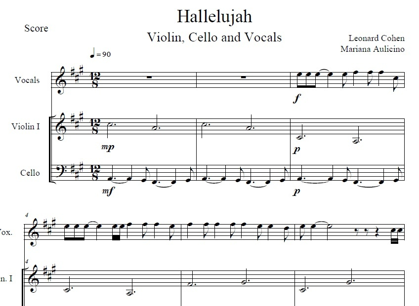 Hallelujah - Leonard Cohen - String Duet (With vocals)