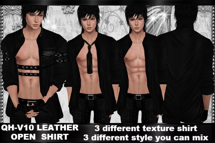 QH-V10 Leather Open Shirt
