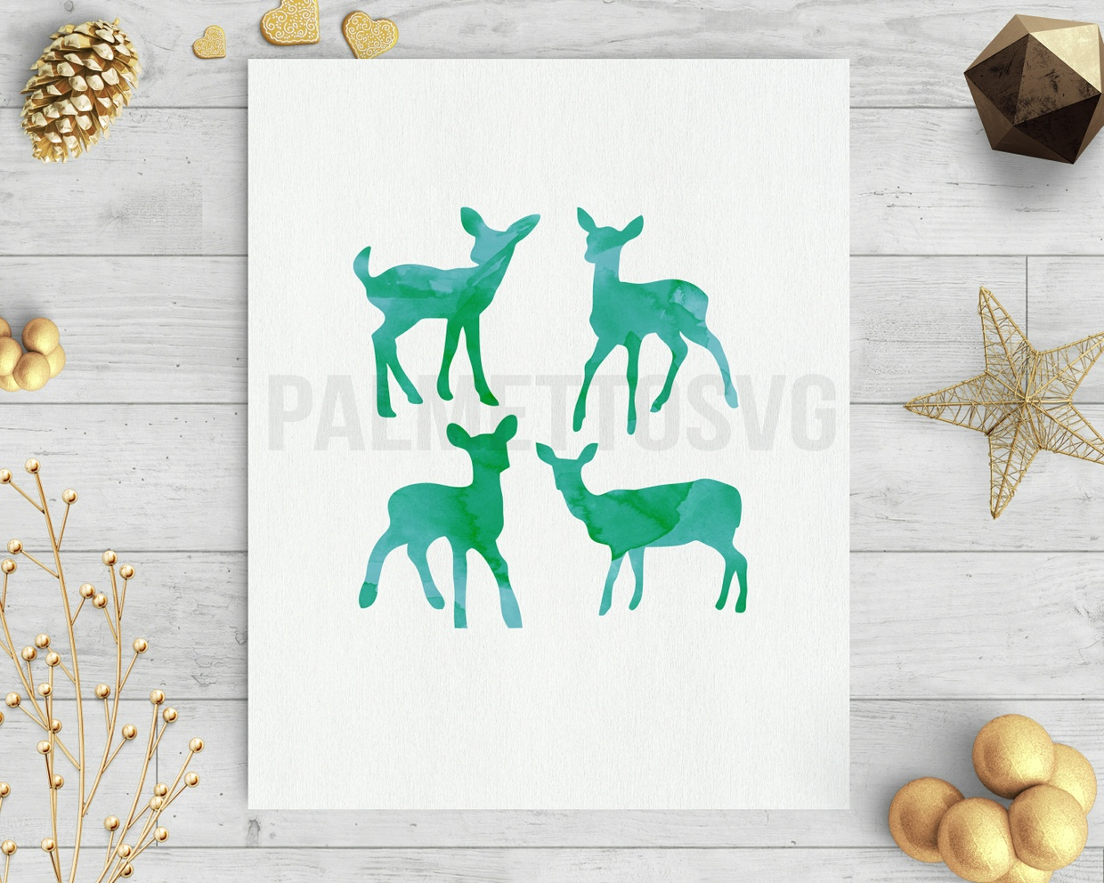 baby deer green watercolor clip art svg dxf cut file silhouette cameo cricut download