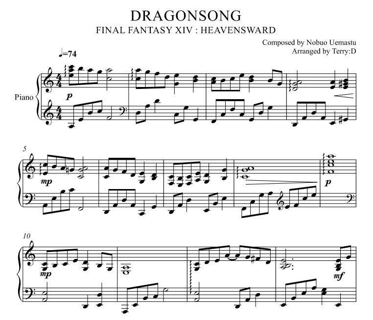 Piano easy piano sheet : Dragonsong(Easy key - Arr.by Terry:D) for Piano solo f