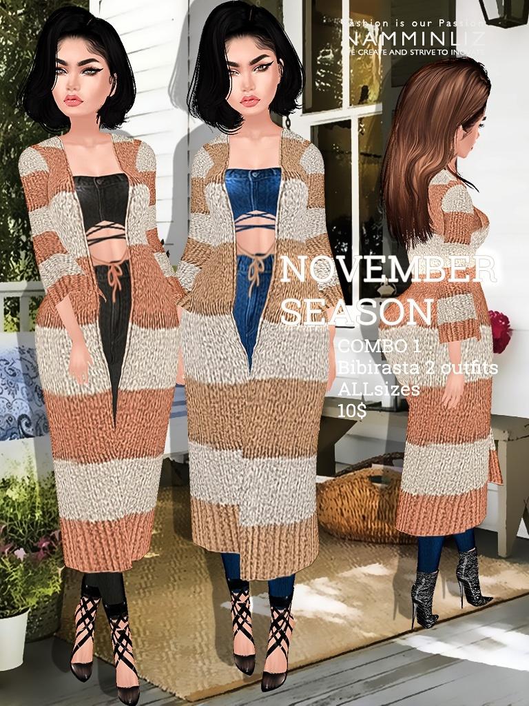November Season combo 1 imvu texture 2 Outfits Bibirasta