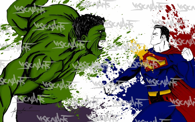 Hulk Vs Superman Art Poster