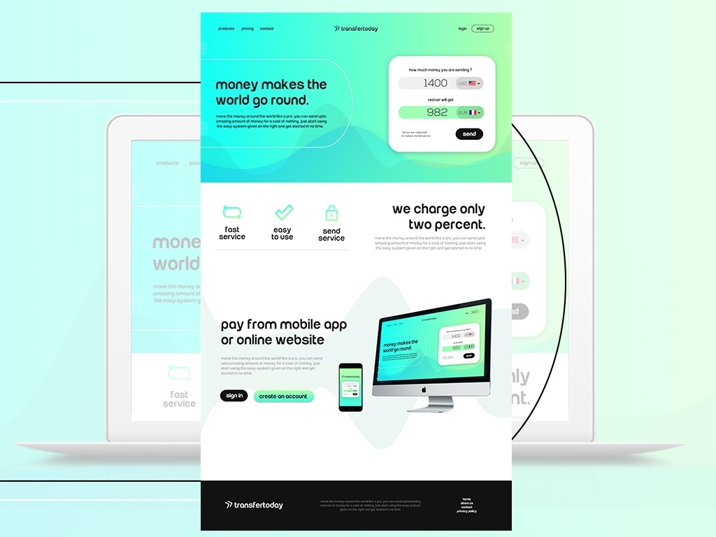 Free Money Transfer Website Template PSD